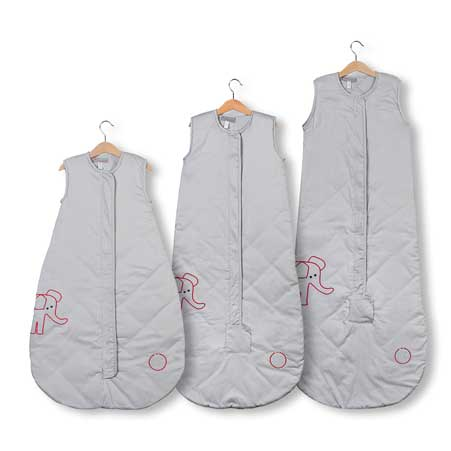 Save Our Sleep, Safe Baby Sleep Bag LUXURY 'Elzzie Elephant, Grey' Travel 0.5, 1 TOG or 2.5 TOG