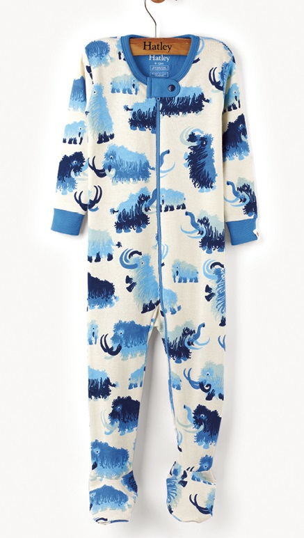 Hatley Babygro with feet - Woolly Mammoth