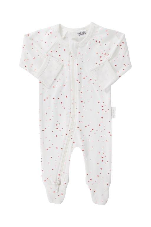 Purebaby 2 Ended Zip Babygro - Red Star