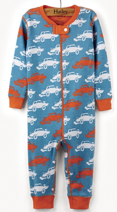 Hatley Babygro - Silhouette Derby Cars - Footless
