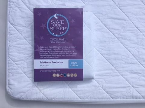 Save Our Sleep,  100% Cotton Mattress Protector - fits Travel Cot