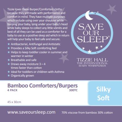 Save Our Sleep Comforter/Burper Cotton/bamboo 4 pk - White