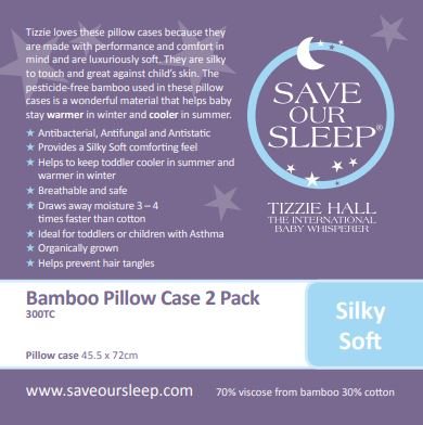 Save Our Sleep, Standard Pillow Case 2 pk / Pram bassinet mattress slip