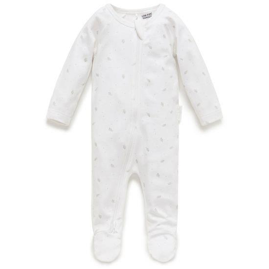 Purebaby 2 Ended Zip Babygro - Pale Grey Leaf with Spot