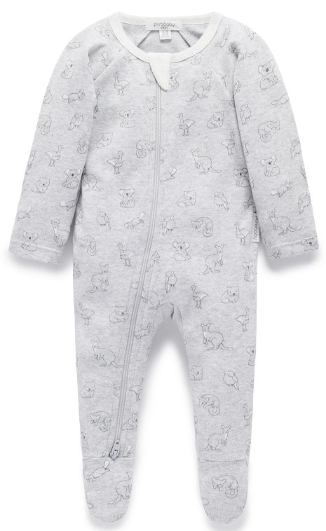 Purebaby Zip Babygro - Pale Grey Outback