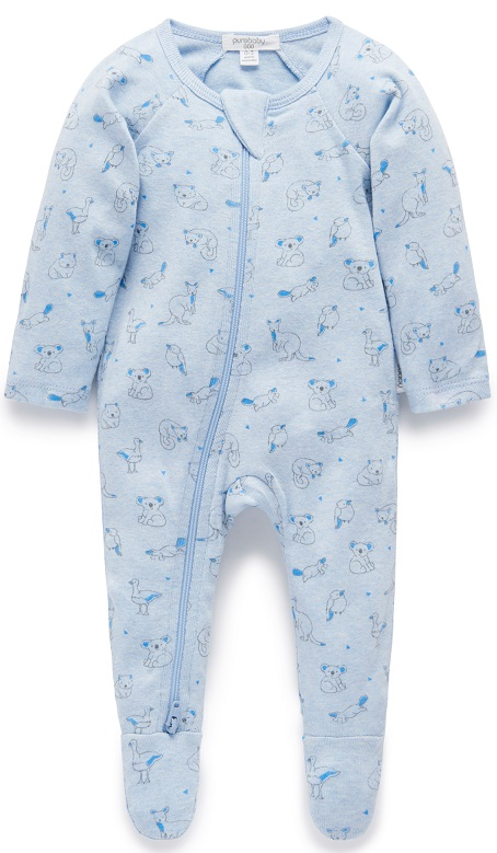 Purebaby Zip Babygro - Soft Blue Outback