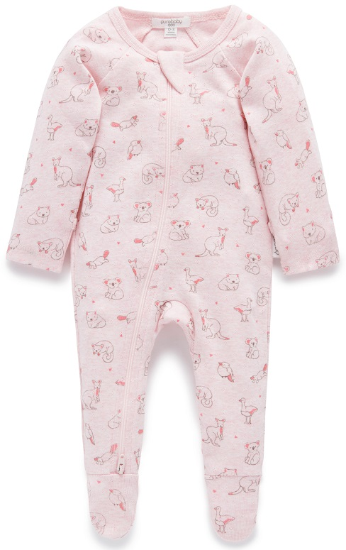 Purebaby Zip Babygro - Soft Pink Outback