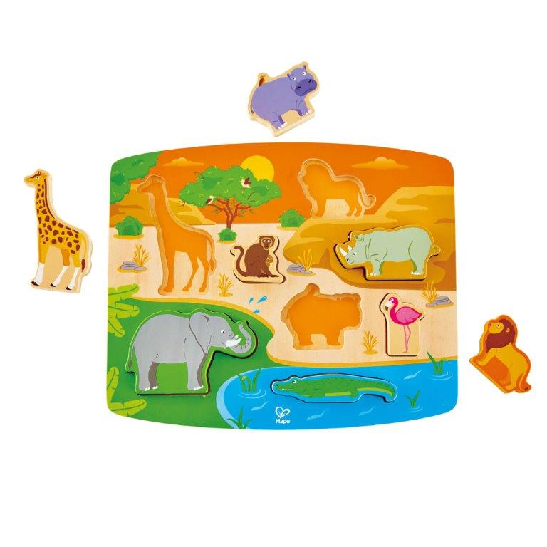 Hape - Wild Animal Puzzle & Play 8 pieces