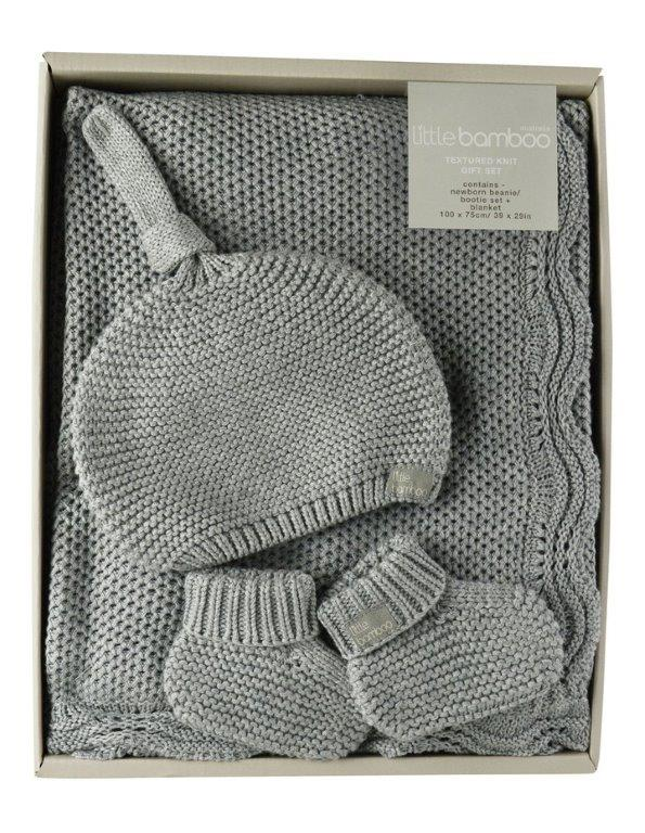 Little Bamboo Textured Knit Gift Set - Marl Grey