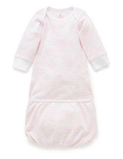 Purebaby Fold-up Bundler - Pale Pink Melange Stripe