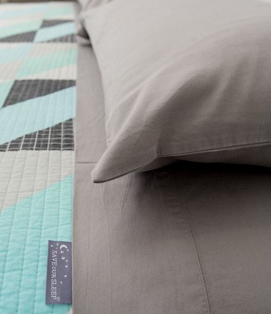 Save Our Sleep Single Bed Sheets - Grey