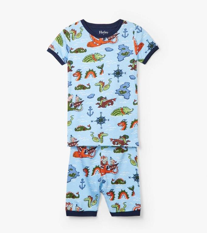 Hatley Organic Short PJs - Sea Monsters