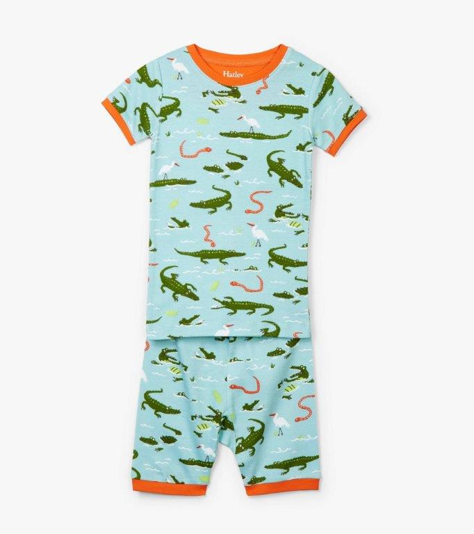 Hatley Organic Short PJs - Swamp Gators