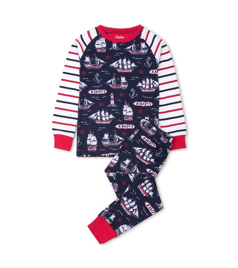 Hatley Organic PJs -  Nautical Ships
