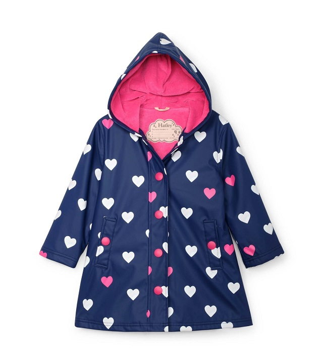 Hatley - Colour Changing Splash Jacket - Striped Hearts