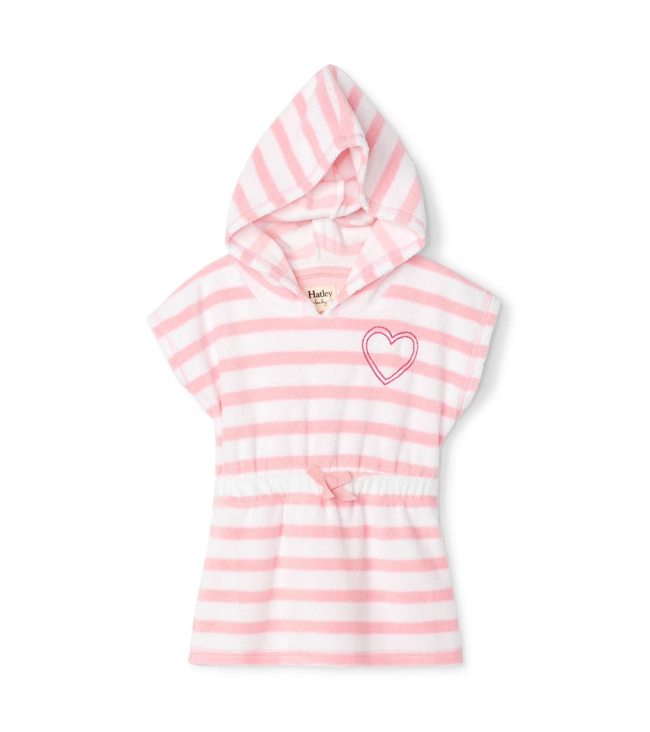 Hatley Candy Pink Stripe Baby Terry Wearable Towel