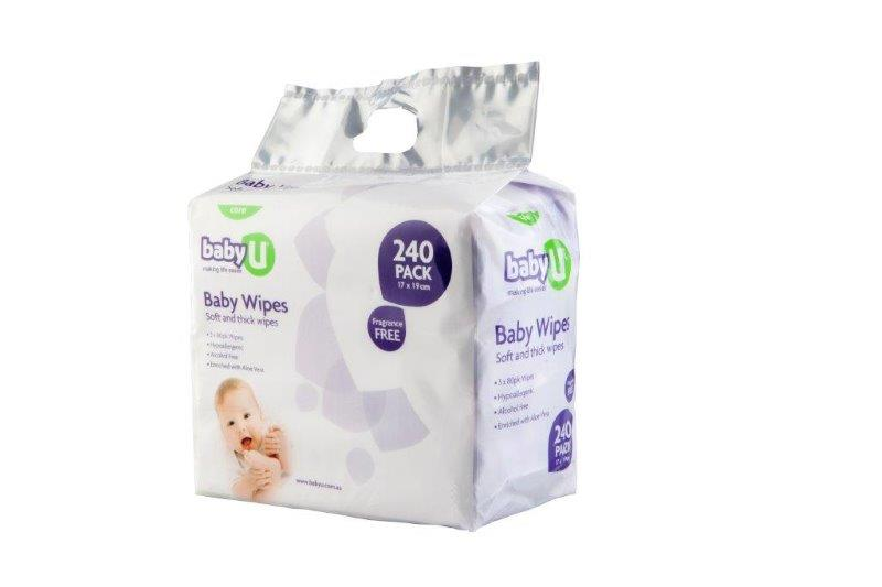 Baby U Wipes Fragrance Free - 240 pk