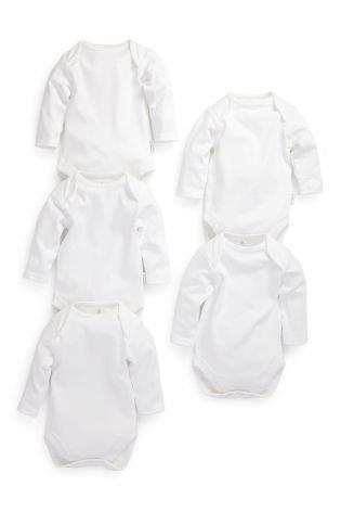 UK-Next - Long Sleeved Bodysuit - White - 5pk
