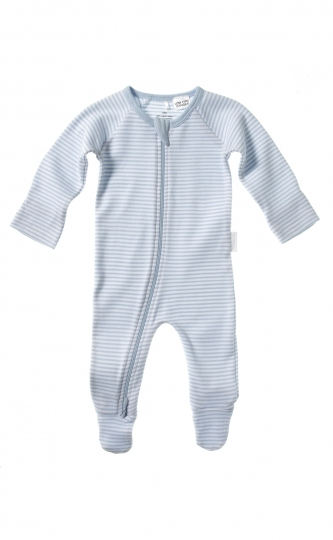 Purebaby 2 Ended Zip Babygro - Pale Blue Stripe - Size 0