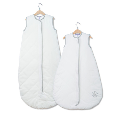 Save Our Sleep, Safe Baby Sleep Bag LUXURY 'White with Silver Binding' Travel 0.5